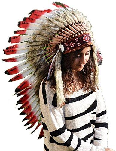 KARMABCN Y10 - Sombrero indio naranja medio con la piel negra, warbonnet del estilo del nativo...