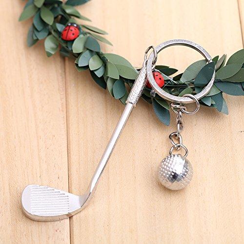 Forfar 1 Stück 3D Golf Keychain kreatives Geschenk Golf Ball Anhänger Metall Schlüsselanhänger Schlüsselanhänger