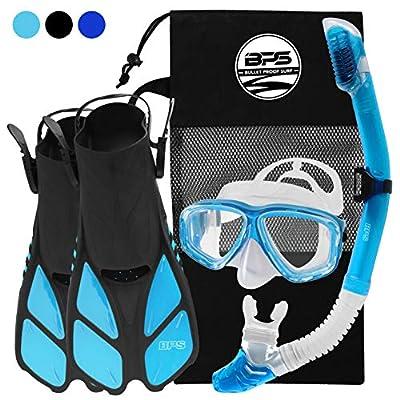 BPS Full Snorkeling Gear Set - Dive Mask, Snorkel Tube, and Swim Fins with Mesh Bag - XXS/XS, Aqua Blue