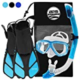 BPS Full Snorkeling Gear Set - Dive Mask, Snorkel Tube, and Swim Fins with Mesh Bag - S/M, Aqua Blue