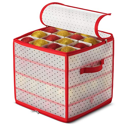 Plastic Christmas Ornament Storage Box with 2-Sided Dual-Zipper Closure - Keeps 64 Holiday Ornaments, Xmas Decorations Accessories, 3' cube Compartments - Sturdy Flexible Plastic