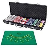 COSTWAY Set de Póker con 500 Fichas con 2 Naipes,5 Dados, 3 Fichas de Crupier y Mantel Juego Completo de Póquer con Estuche (Negro)