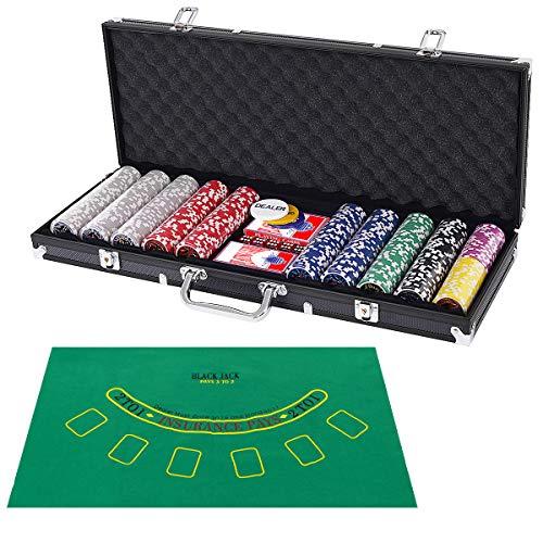 COSTWAY 500 Laser-Chips Pokerset, Poker Komplett Set mit Chips, 2 Spielkarten, 5 Würfel, 3 Händler-Chips und Tischtuch, Kasino Pokerkoffer Aluminium mit 2 Schlüsseln (Schwarz)