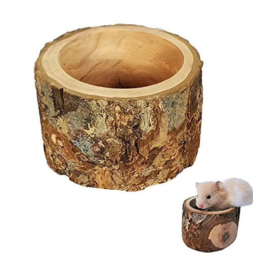 Hamster Food Bowl, Wooden Feeder Bowl Chew-Resistant Hamster Feeding Bowls, Teeth Care Molar Toys for Mouse, Chinchilla, Rat, Gerbil,Hamster,Cat or Small Animals