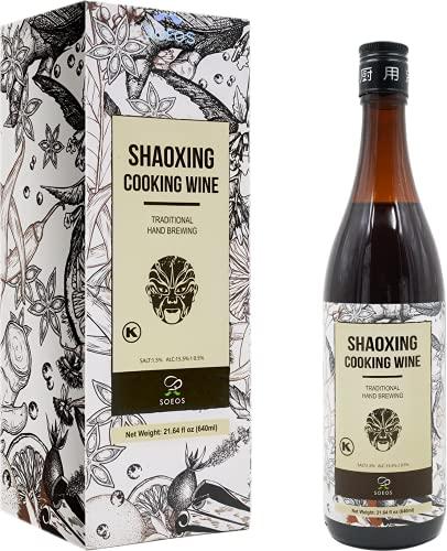 Soeos Shaoxing Cooking Wine 21.64 fl oz (640ml), Regular, 1 Pack, Shaoxing Rice Wine, Chinese Cooking Wine, Rice Cooking Wine, Shaoxing Wine Chinese Cooking Wine, Shaohsing Wine, Shao Hsing Rice Wine.