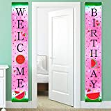Watermelon Birthday Banner Decorations Watermelon Baby Shower Banner for Summer Fruit Themed Birthday Party Supplies Favors Summer Porch Sign Decor Supplies Banner Hanging Decoration