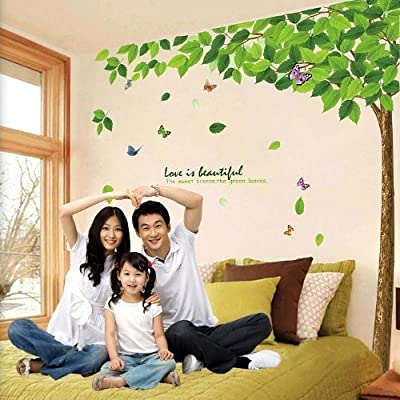 1 X BestGrewÃ'® Green Tree Garden Series Large Tree and Butterflies Wall Decals, Living Room Bedroom Removable Wall Stickers Murals by SMJAITD by Superassure