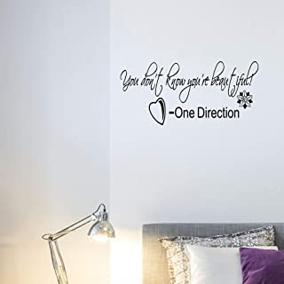 N.SunForest You Dont Know Your Beautiful Quote One Direction Wall Art Lyrics Sticker Decor
