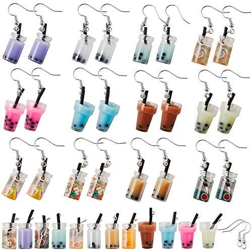 SUNNYCLUE 1 Caja DIY 12 Pares Kit de Fabricación de Pendientes de Té de Leche de Perla Boba Cute Bubble Tea Drop Earrings Pendientes Divertidos Artículos de Fabricación de Joyas para Mujeres