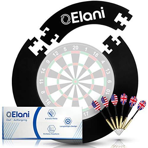 ELANI ® Dartscheibe Schutzring passgenau inkl. 6 Steeldarts und Zwischenring I Dart Surround Ring Wandschutz I Dart Catchring I Dart Auffangring