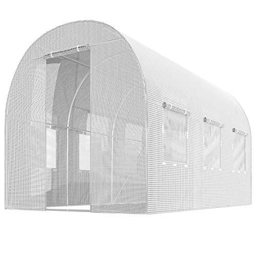 Plonos Gewächshaus Gartentunnel Folientunnel Garten Treibhaus (2 x 3 m, Weiß)