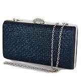 Pochette blu elegante da cerimonia donna ragazze signore borsa piccola gioiello clutch glitter brillantini matrimonio borsetta a mano sera giorno con tracolla in catena Tessuto glitterato Blu