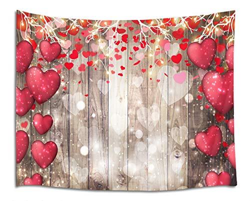 Tapeçaria HVEST Happy Valentine's Day em formato de coração vermelho em tábuas de madeira vintage tapeçarias para quarto, sala de estar, dormitório, festa de fim de ano, amante, sala de estar, dormitório, decoração indiana, 203 x 152 cm