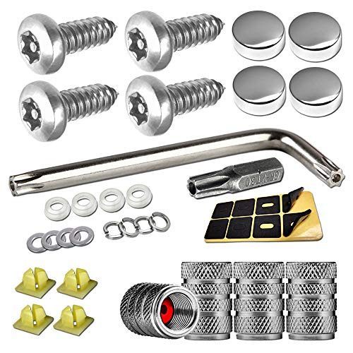 Anti Theft License Plate Screws- Stainless Steel Plate Mounting Hardware Kit, M6(1/4') Security Long Screws with Chrome Caps, Insert, Fasten Front / Rear Car Tag Frame Holder, Free Tire Valve Cover