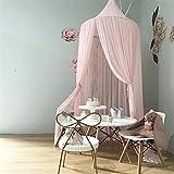 Ommda Moskitonetz Bett Kinder und Baby Betthimmel Moskitonetz Chiffon süß und romantisch für Kinderzimmer und Schlafzimmer mit Haarball Dekoration Rosa 240x50cm (HöhexDurchmesser) - 3