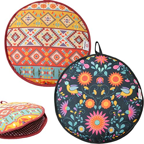 Microwaveable X-Large Tortilla Warmer Pouch 2 Pack - 2 Fun Designs to make taco night special. 12 Inch in Diameter Microwave Corn or Flour Tortillas, Pizza, Naan Bread (Flower)