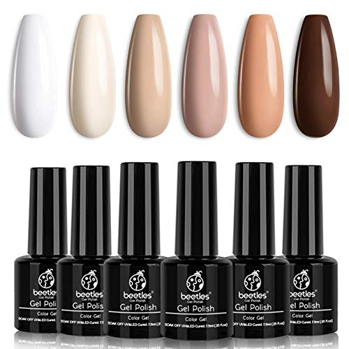 Beetles Gel Nail Polish Kit- 6 Colors Nude Gel Polish Set Soak Off Nail Gel Polish Set White Ivory Nude Pink Peach Brown Natural Skin Tone Gel Nail Manicure Kit DIY Home Gifts for Women