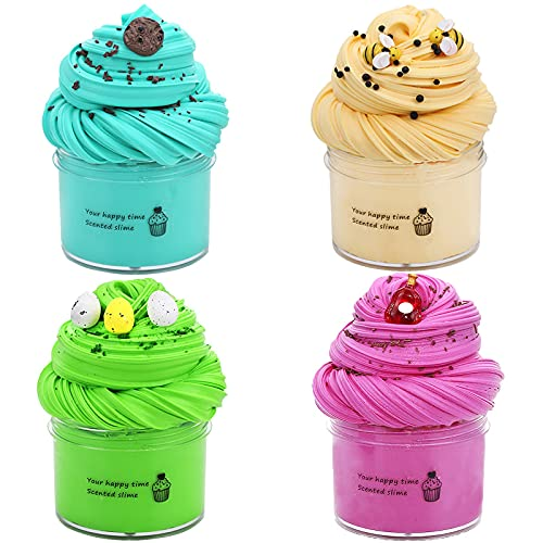 Zandala, Paquete de 4 suministros de limo de fruta no pegajosa aromaterapia presión limo juguete suave arcilla arena esponjosa luz plastilina goma juguete