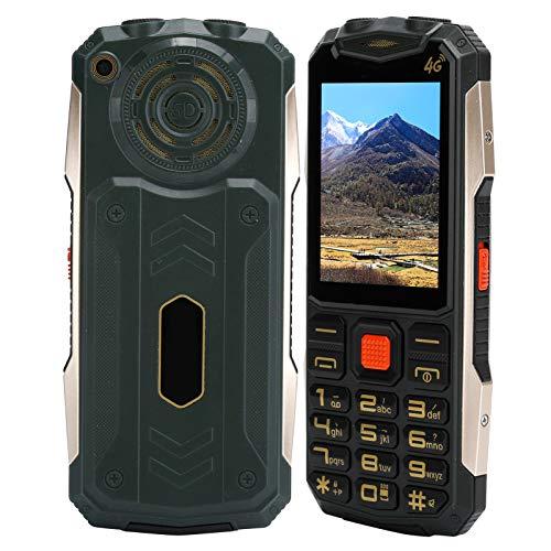 Teléfono móvil 4G para personas mayores, teléfono móvil con botón SOS desbloqueado con pantalla de 2,4 pulgadas, teléfono móvil con doble modo de espera de 32 MB + 32 MB, 9 números de familia(Verde)