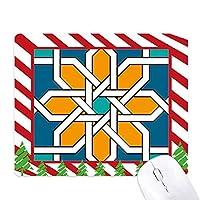 フラワーモロッコスタイルの抽象的な幾何学 ゴムクリスマスキャンディマウスパッド