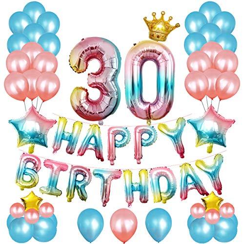Luftballon-Dekorationsset zum 21. Geburtstag, 52 Stück, für Mädchen und Frauen, Geburtstagsparty-Zubehör, Banner, Sternen-Folienballons, Krone, etc. 30