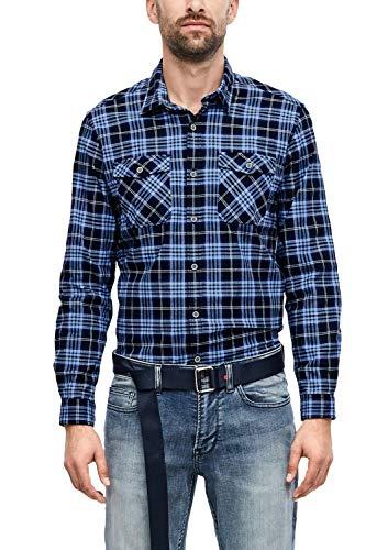 s.Oliver RED Label Herren Regular: Hemd mit Karos Blue Check XL
