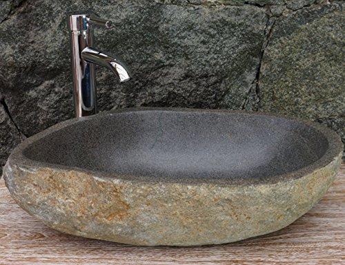 Guru-Shop Massieve Rivierstenen Opzetwastafel, Wasbak, Natuurstenen Handwasbak ca. 45 cm - Model 10, Wastafels, Wastafels Badkuipen