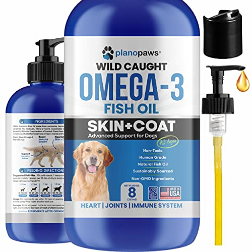 Omega 3 Fish Oil for Dogs - Better Than Salmon Oil for Dogs - Dog Fish Oil Supplement - Reduce Shedding & Itching - Supports Joints, Brain, Heart Health- Dog Skin and Coat Supplement - Fish Oil Liquid