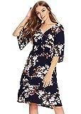 Milumia Women's Vintage Boho Button Up High Waist Floral Print Summer Dress Black Large