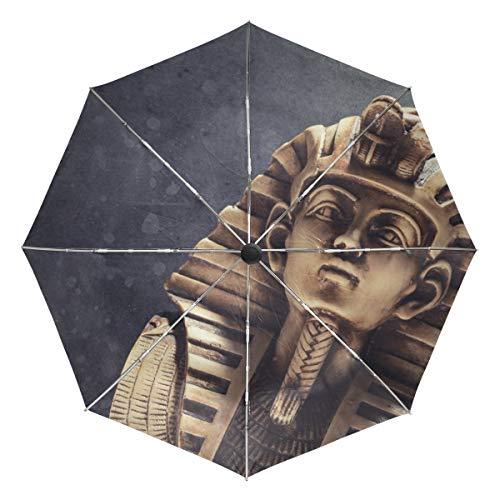 Stein Pharao Tutanchamun Maske Winddichte Regenschirme Auto Öffnen Schließen 3 Falten Starke Langlebige Kompakte Reiseschirm UV-Schutz Tragbar Leicht Leicht Leicht zu tragen