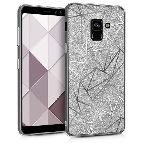 kwmobile Hülle kompatibel mit Samsung Galaxy A8 (2018) - Handyhülle - Handy Hülle Splitter Glitzer Silber