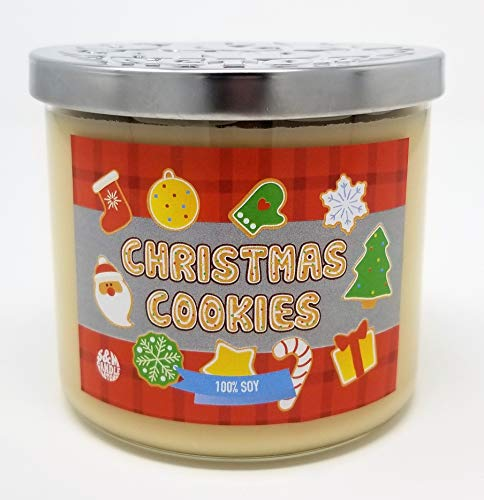 Christmas Cookies Candle - S&M Candle Factory Large 3 Wick Premium Soy Wax Merry Cookie Candle ~ Xmas Candle ~ Made in USA (Christmas Cookies)
