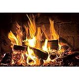 YongFoto 3x2m Fondo de leña ardiente Danza Llama Madera Ladrillo Negro Invierno Cálido Fondo de fotografía para Interiores Navidad Viajes Barbacoas Decoración Accesorios para Fotos Vinilo