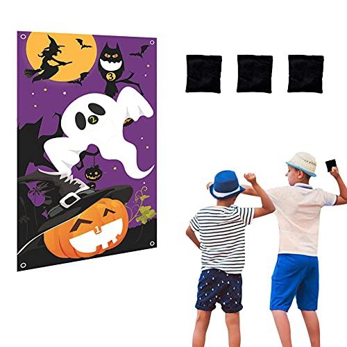 HUYIWEI Juego de lanzamiento para fiestas de Halloween para niños, juego de lanzamiento con 3 pufs, pancartas de juegos para Halloween, actividades al aire libre