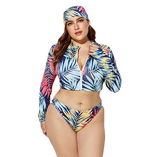 Hansee Clearance Damen 3-teilige Badeanzüge mit Blumenmuster in Übergröße, langärmliger Badeanzug mit Reißverschluss und gebundenem Kopftuch, Bikini-Badeanzug mit hoher Taille und Tanga