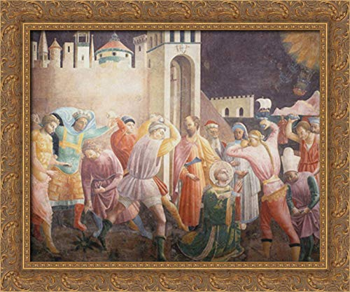 Stoning of St.Stephen 24x20 Gold Ornate Wood Framed Canvas Art by Paolo Uccello