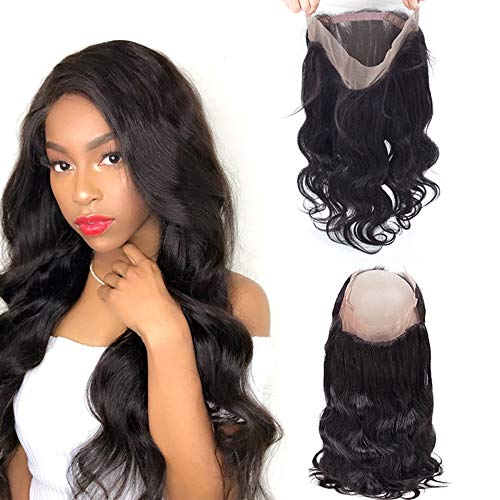 """Brazilian Human Hair Pre Plucked 360 Frontal Body Wave Closure Frontal with Baby Hair 16"""" 360 Lace Frontal Closure Natural Color 150% Density"""