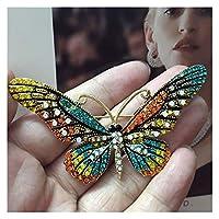 ブローチ 女性のためのファッション女性の蝶のブローチのピンのためのピンの完璧なピンとブローチのブロチのピン (Metallfarbe : Green)