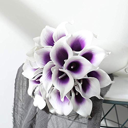 Justoyou Künstliche Blumen aus Latex, realistische Calla-Lilien für Hochzeit, Zuhause, Hotel, Garten, Dekoration, 20 Stück, weiß/violett, 20PCS