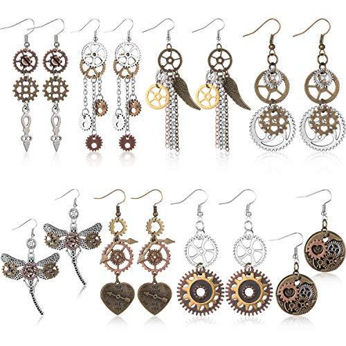 8 Paare Steampunk Tropfen Ohrringe Getriebe Baumeln Ohrringe Antik Uhrwerk Ohrringe Vintage Mix Ton Ohrringe für Frauen Mädchen