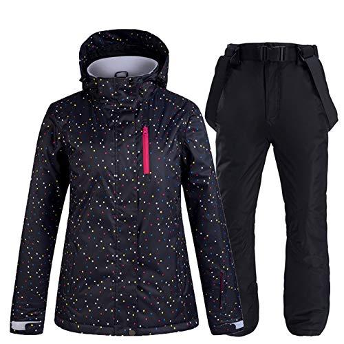 SxLingerie Schneeanzug Damen Winter Ski Jacke Und Hose Thermal Windundurchlässige wasserdichte Hose Outdoor-Sport-Berg Snowboard-Jacke Set,Schwarz,S