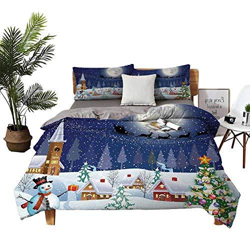 DRAGON VINES 4 Bedding Cover Set Pillowsham BedSheet Winter Season Snowman Xmas Tree Santa Sleigh Moon Present Boxes Snow and Stars Blue White high Density Weaving Process W85 xL85