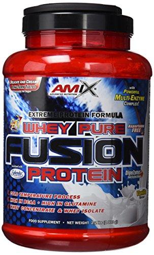 AMIX - Proteína Whey - Pure Fusion - 1 Kg - Concentrado de Suero Ultra Filtrado - Proteína Isolada con Splenda - Contiene L-glutamina - Proteínas para Aumentar Masa Muscular - Sabor Vainilla