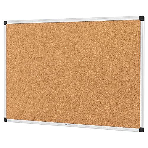 Amazon Basics - Tablón de anuncios, de corcho, con marco de aluminio, 90 x 60 cm