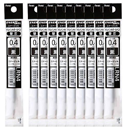 ぺんてる ボールペン替芯 エナージェル 0.4mm XLRN4-A 黒 10本