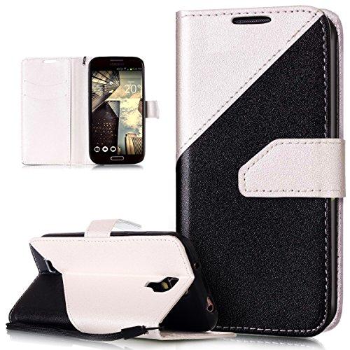 Kompatibel mit Galaxy S4 Hülle,Galaxy S4 Leder Hülle,Schlagfarbe Nähte Spleiß Stil Naht Farben PU Lederhülle Flip Hülle Handyhülle Cover Ständer Tasche Wallet Case Schutzhülle für Galaxy S4,Weiß