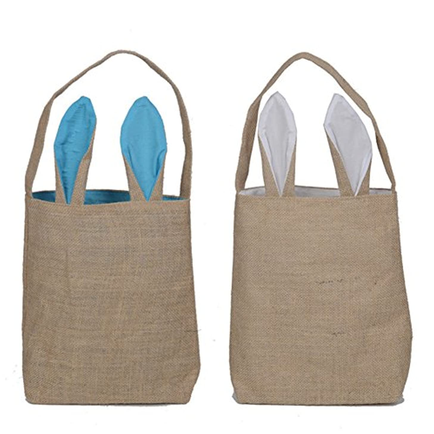 2 Pack Easter Gift Bag Dual Layer Bunny Ears Design Jute Cloth Bag for Party (Blue,White) by Loves Town