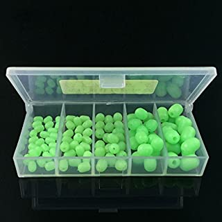 PQZATX 100pcs Oval Soft Luminous Fishing Beads Sea Fishing Lure Floating Float Tackles