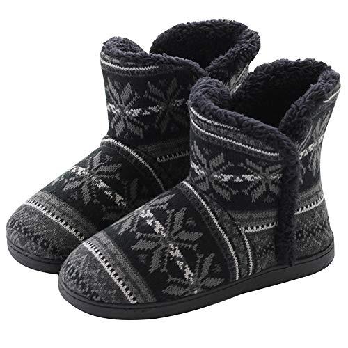 Rokiemen Kapcie damskie męskie buty zimowe sztuczne futro podszyte ciepłe dzianinowe antypoślizgowe kapcie do wnętrz buty dom kapcie kapcie buty, - Czarny 1 - 44/46 EU