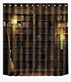 LB Witch's Wood Cabin Magic Book Shelf Flying Broom Shower Curtains for Bathroom, Magic Halloween Night Decor, 70 x 70 Inches Shower Curtain Set Waterproof